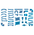 Set of beautiful festive colored blue ribbons vector image vector image