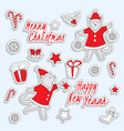 set of cute christmas stickers with dancing cats vector image vector image