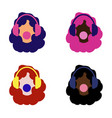 set of girls of different colors colorful hair vector image