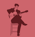 spanish guitarist playing flamenco sitting on a vector image