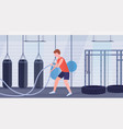 sporty man doing crossfit exercises with battle vector image vector image