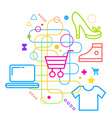 Symbols of shopping on abstract colorful light vector image vector image