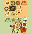 Thai cuisine icon set for tasty asian food design vector image
