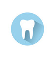 tooth flat icon with shadow on a blue circle vector image vector image