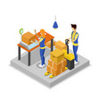warehouse with workers isometric 3d icon vector image