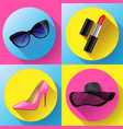 woman fashion dress icon set - sunglasses vector image