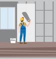 workers put plaster installing gypsum vector image vector image