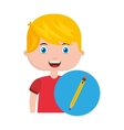 boy character student with school supplies vector image