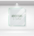 advertising stand glass realistic glass on vector image vector image