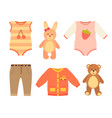 baby clothes and set of toys vector image vector image