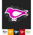 bird paper sticker with hand drawn elements vector image