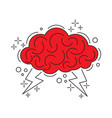 brain with lightning vector image vector image