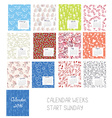 Calendar 2016 template set with floral patterns vector image vector image