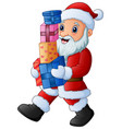 cartoon santa claus holding vector image
