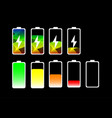 charging mobile phone battery status flat icon vector image