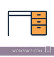 desk outline icon workspace sign vector image