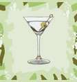 dry martini cocktail alcoholic bar drink hand vector image