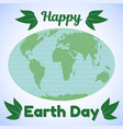 earth day theme greeting card or banner world map vector image vector image