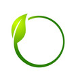 eco leaf circle symbol logo design vector image