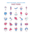 fast food icon dusky flat color - vintage 25 icon vector image