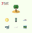 flat icon summer set of boat reminders sunshine vector image vector image