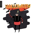 Halloween with a waving girl vector image