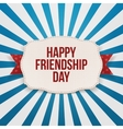 Happy Friendship Day greeting Text on Emblem vector image vector image