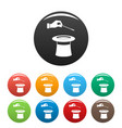 hat with hand icons set color vector image