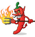 hot chili pepper devil cartoon character stab vector image vector image