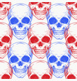 human scull color seamless pattern hand drawn vector image
