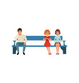 man and two women sitting on bench and waiting vector image vector image