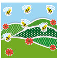 mountains with flowers and bees icon vector image vector image