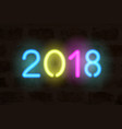 neon 2018 realistic numbers vector image
