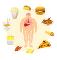 obesity problem with fat mans body with and fast vector image