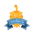 oktoberfest blue ribbon gold hop cones background vector image vector image