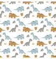 pattern with funny dinosaurs vector image