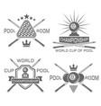 pool room set monochrome emblems vector image vector image