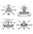 pool room set of monochrome emblems vector image