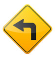 road yellow sign on white background road traffic vector image vector image