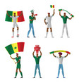 senegal football fans cheerful soccer vector image vector image