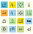 set 16 social icons includes society startup vector image vector image
