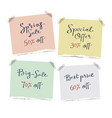 set of sale letterings on the pieces of torn paper vector image vector image