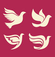 set of silhouettes of dove vector image vector image