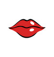 softly smiling female mouth with red lips vector image vector image
