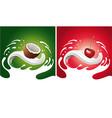 splash with coconut cherry lying on milk tongue vector image vector image