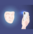 the person scans a face vector image