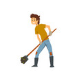 tired farmer digging the earth with a shovel hard vector image vector image