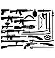 weapon gun knife rifle and shotgun silhouettes vector image