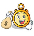 with money bag chronometer character cartoon style vector image vector image