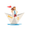 woman in striped vest boating with flag in paper vector image